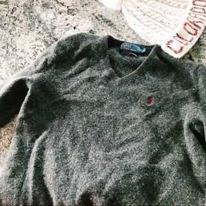 Polo by Ralph Lauren Dark Grey V Neck Sweater